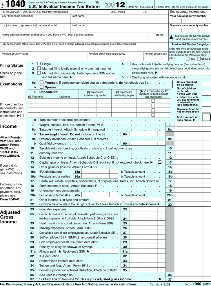 1040 Tax Form 2012 Image Collections Free Form Design Examples