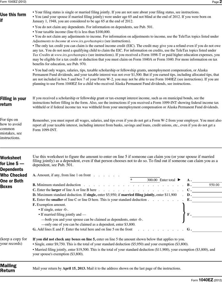 Free 1040ez Form 201 Pdf 111kb 2 Pages Page 2