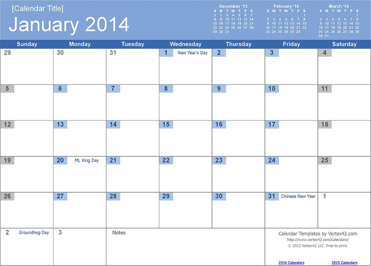 12 Month Calendar 2014 Template Free Download Speedy Template