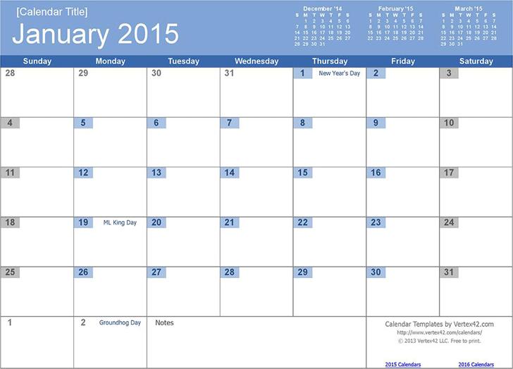 12 Month Calendar 2015 Template Free Download Speedy Template