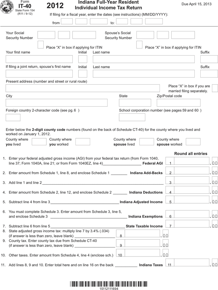 Indiana Tax Forms - Template Free Download | Speedy Template