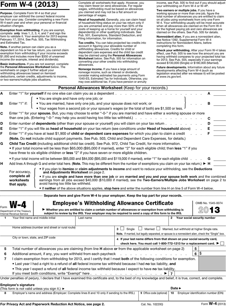 State Tax Withholding Forms Template Free Download – W4 Worksheet