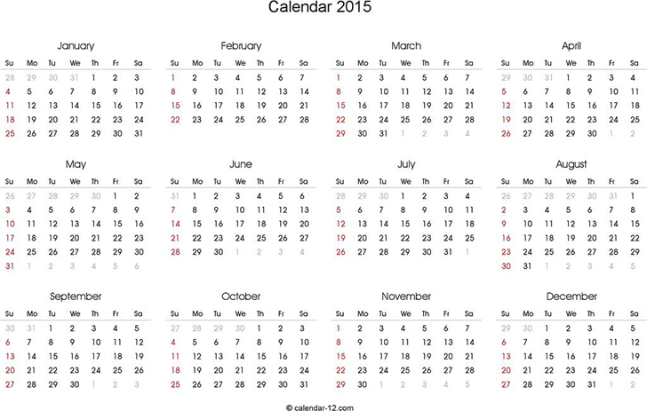 2015 Yearly Calendar Template Free Download Speedy Template