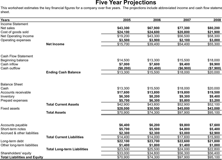 5 Year Business Financial Projections  Free Business Financial Statement Template