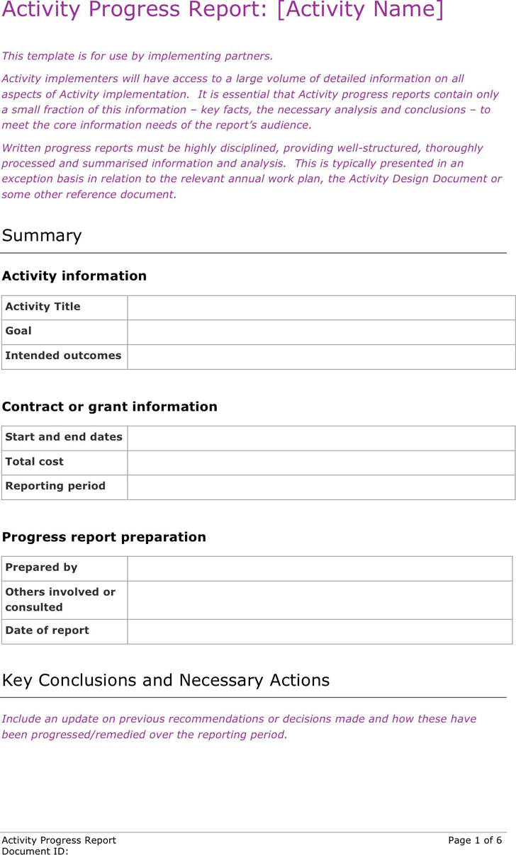 Activity Progress Report Template