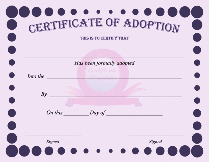 Adoption Certificate Template Free Download Speedy Template