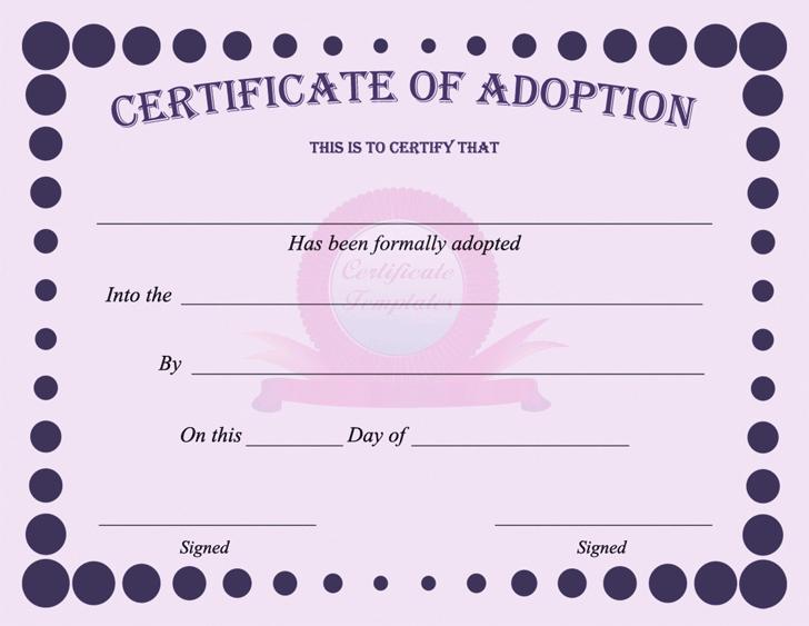 Adoption Certificate - Template Free Download | Speedy ...