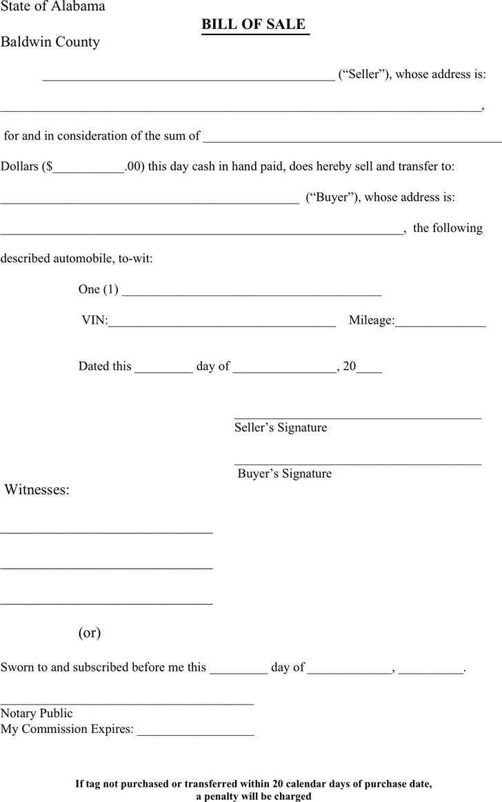 automobile bill of sale form