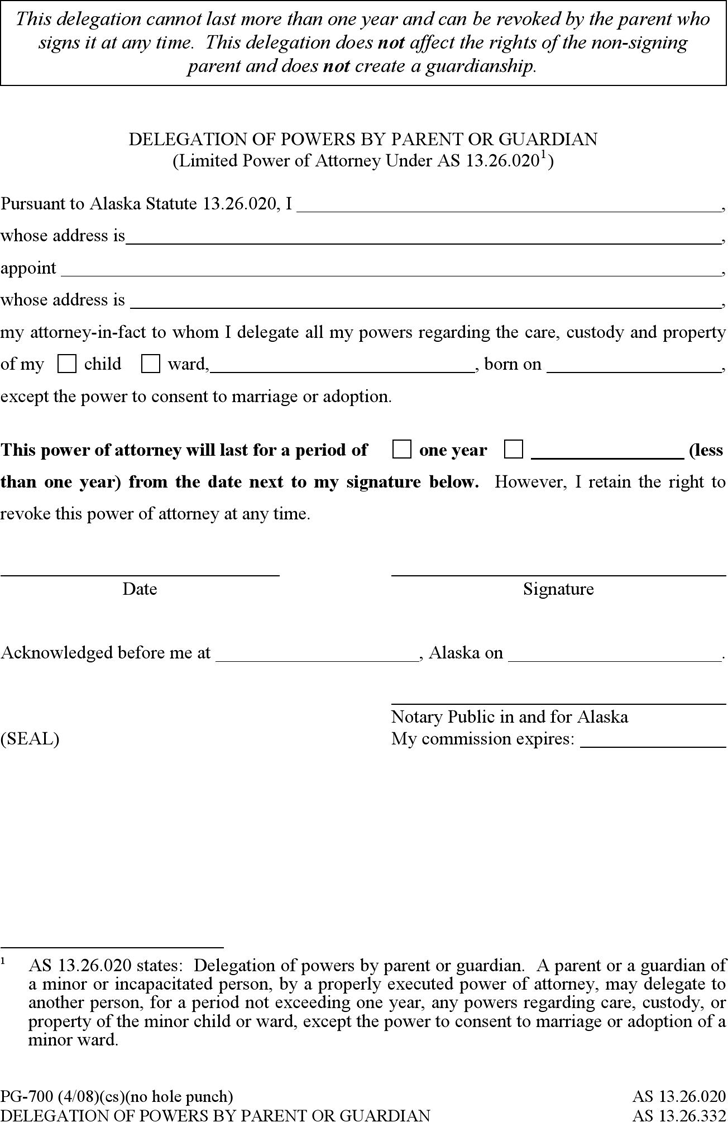 Alaska Delegation of Powers by Parent or Guardian Form