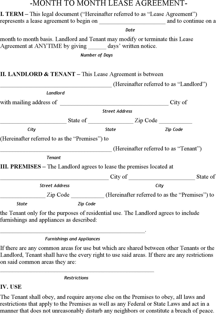 Free Alaska Month To Month Lease Agreement Form Pdf 187kb 7