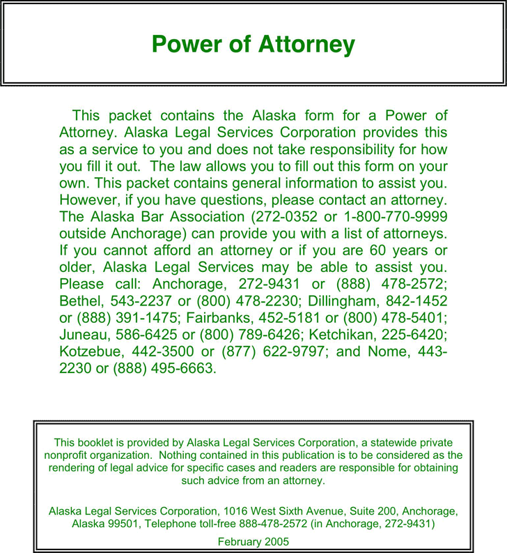 Alaska Statutory Power of Attorney Form