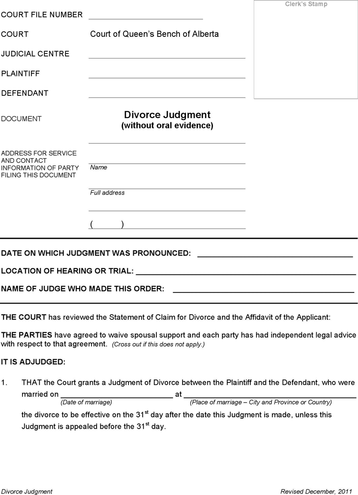 Alberta Divorce Judgment And Affidavit Of Execution (without Children) Form  Affidavit Template Free