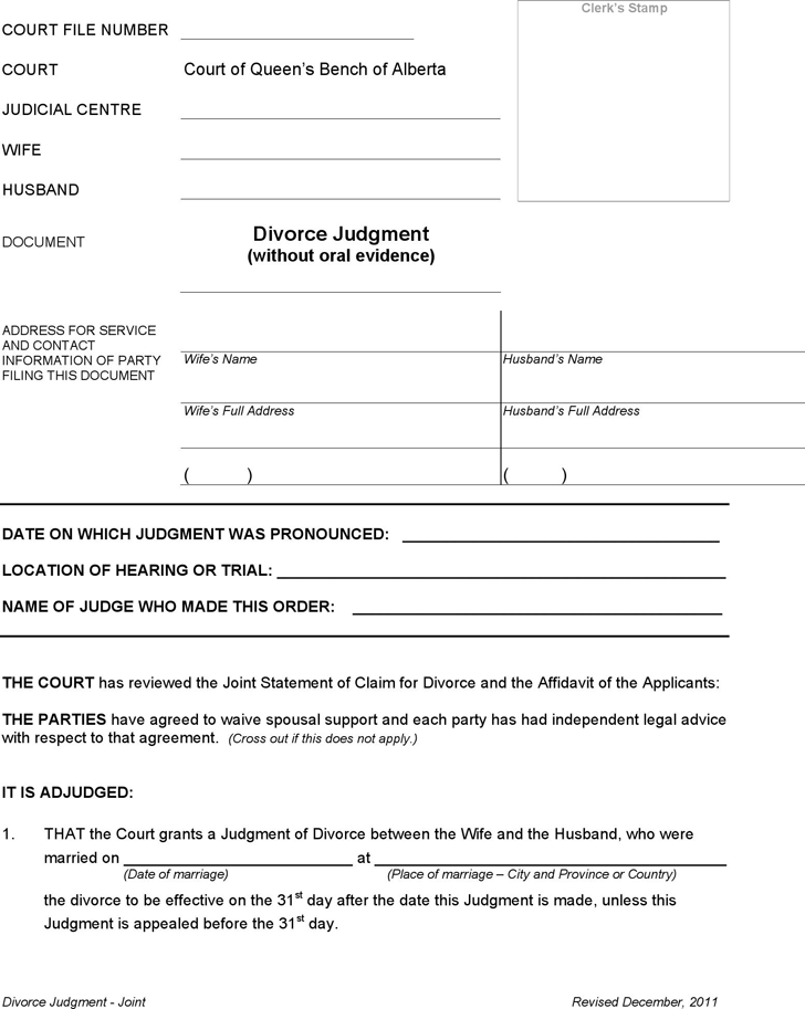 Free Alberta Joint Divorce Judgment Form Pdf 17kb 4 Pages