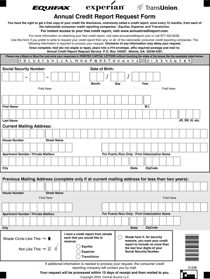 Free Annual Credit Report Request Template Pdf 41kb 1 Page S