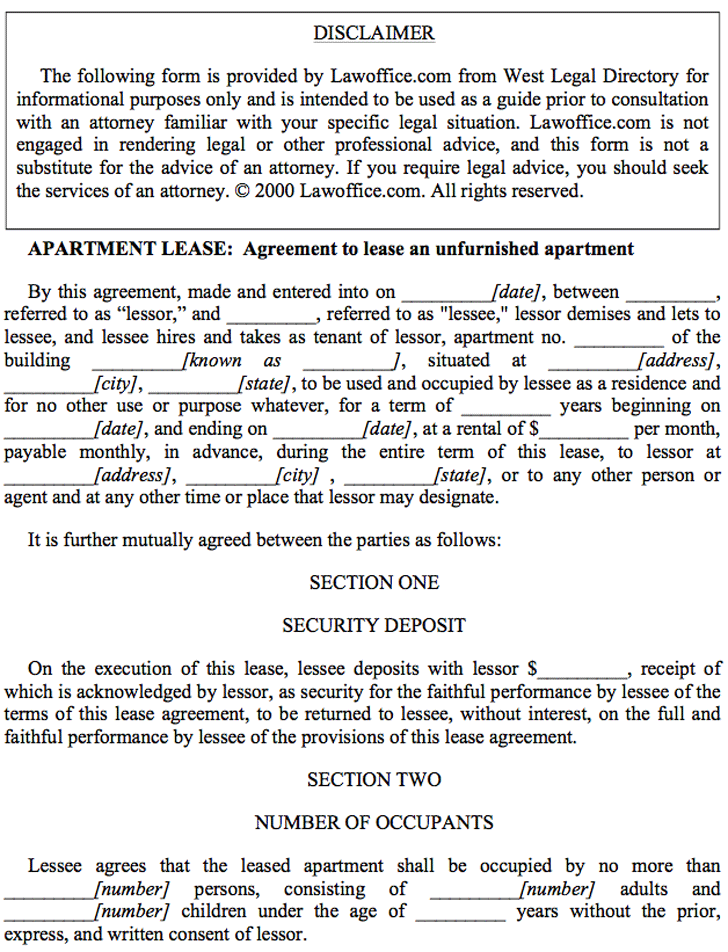 Apartment Lease Agreement 1