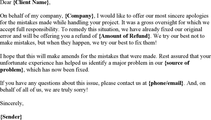 Free Apology Letter in Business doc 24KB 1 Pages