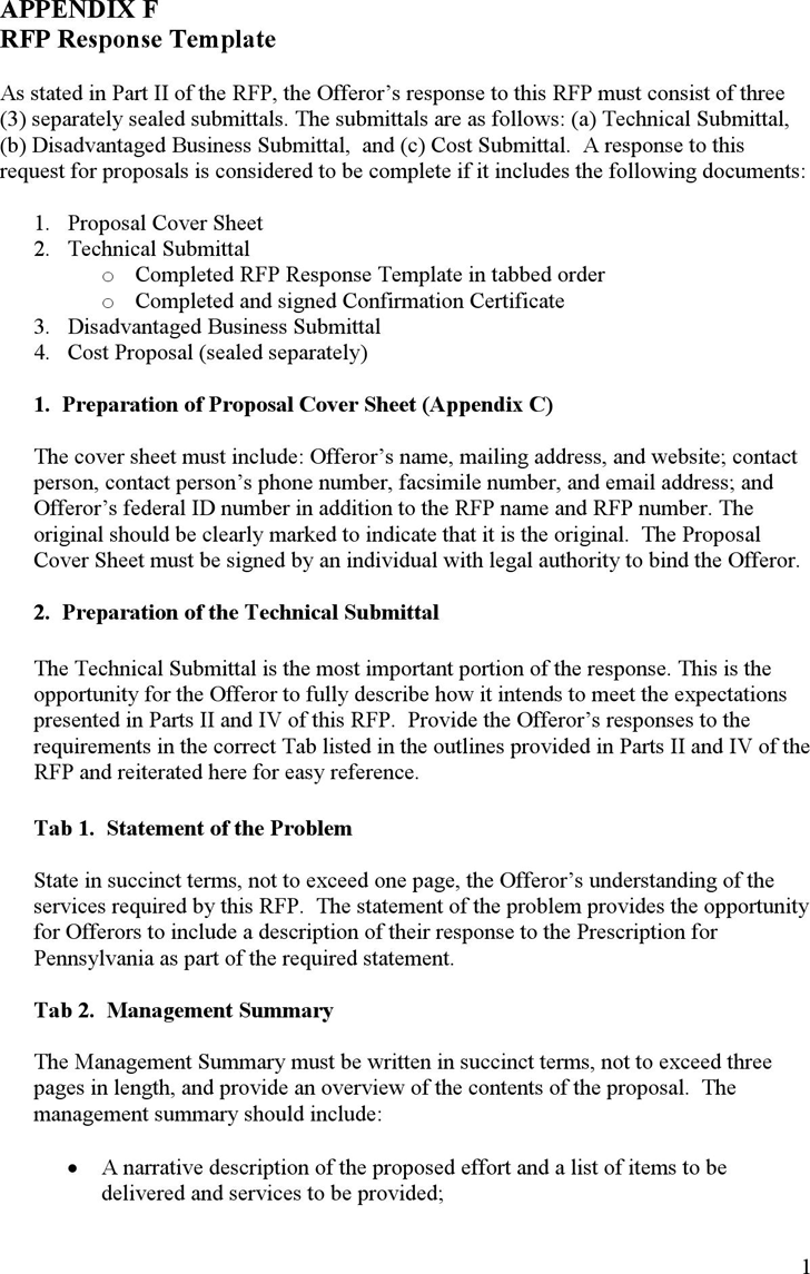 Free Appendix F RFP Response Template - PDF | 191KB | 34 Page(s)