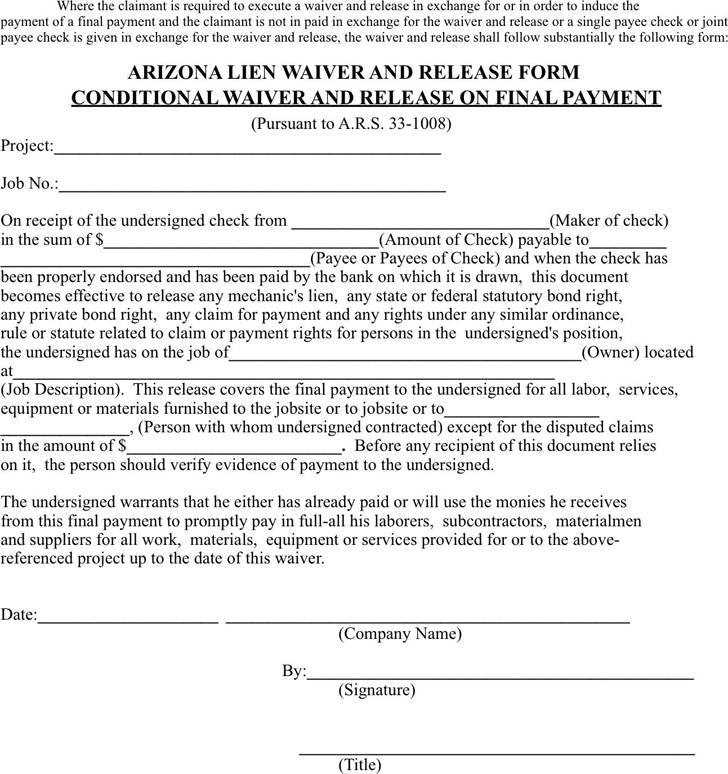 Free arizona conditional waiver and release on final for Final lien waiver template