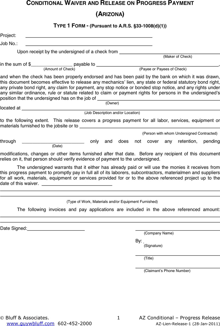 Free Arizona Conditional Waiver And Release On Progress