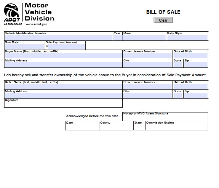 Free arizona motor vehicle bill of sale form pdf 45kb for Free motor vehicle bill of sale