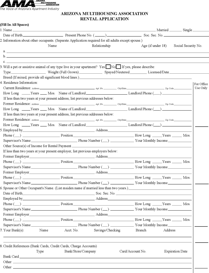 Free Arizona Rental Application Form Pdf 73kb 2 Pages