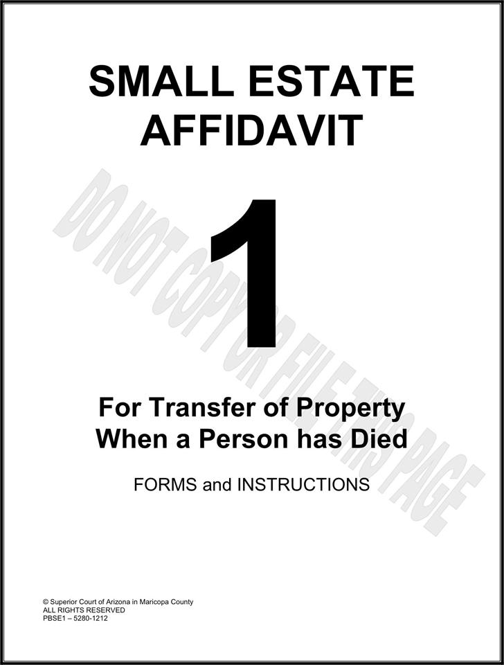 graphic regarding Free Printable Small Estate Affidavit Form identified as Free of charge Arizona Very low Estate Affidavit Sort - PDF 209KB 11