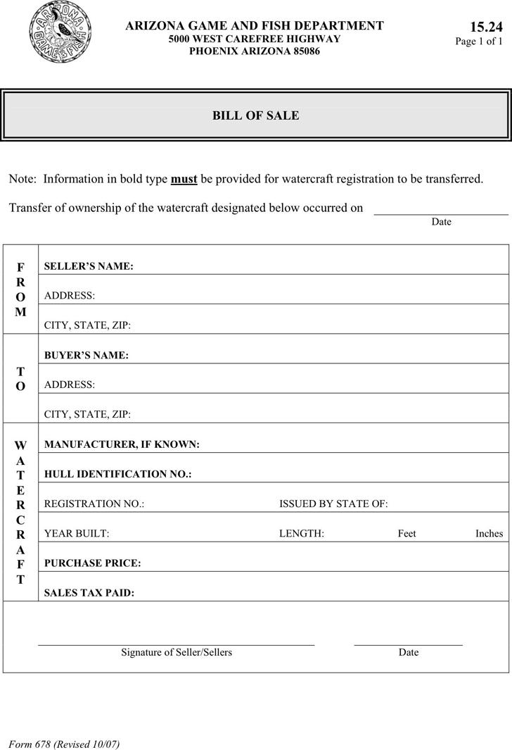 Free arizona watercraft bill of sale form pdf 29kb 1 for Arizona motor vehicle bill of sale