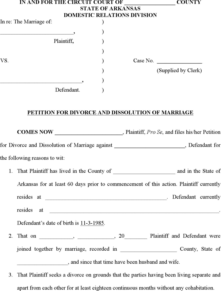 Free Arkansas Dissolution of Marriage Form - doc | 70KB | 13 Page(s)