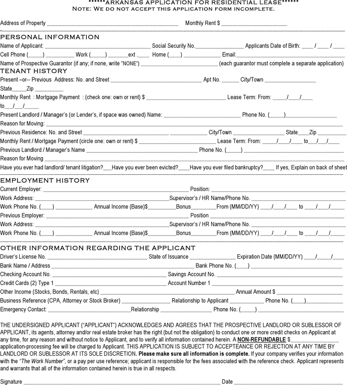 Arkansas Rental Application Template
