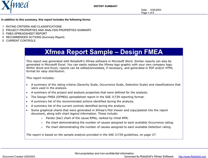 Free Automotive Design Fmea Example Pdf 177kb 9 Pages