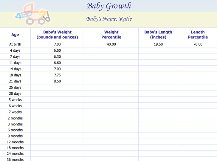Baby Growth Chart Template Free Download Speedy Template
