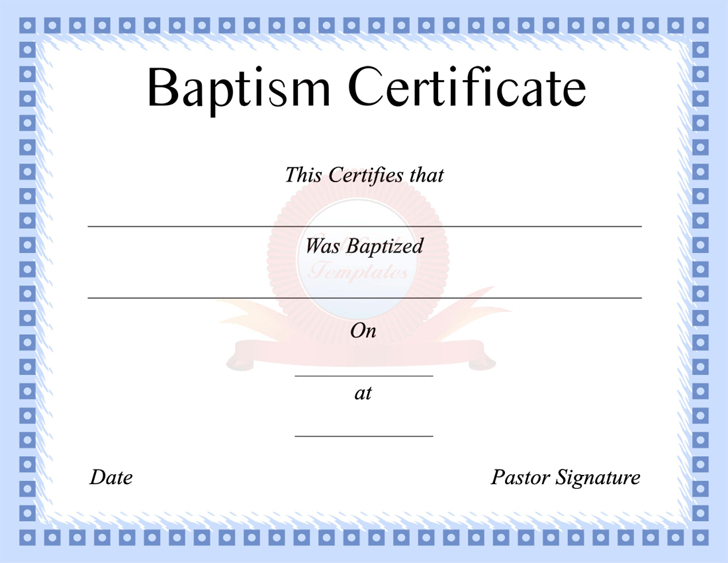photo about Free Printable Baptism Certificates referred to as Baptism Certification - Template Totally free Obtain Instant Template