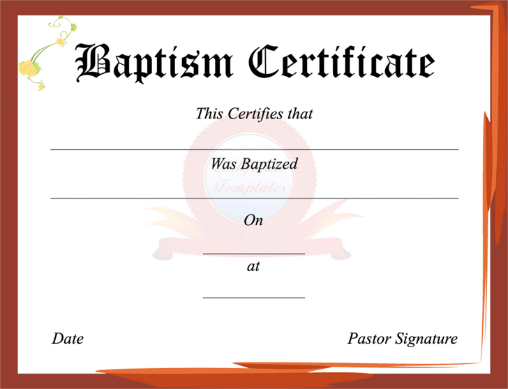 Baptism Certificate Template Free Download Speedy Template