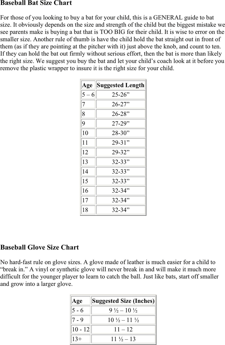 Bat Size Chart Template Free Download Speedy Template