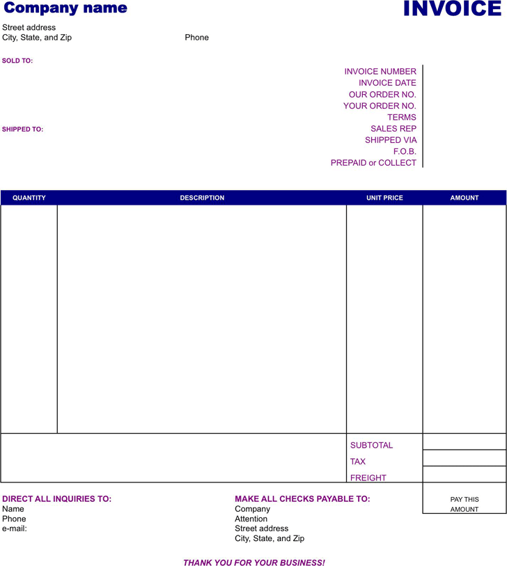 Basic Invoice Template 1