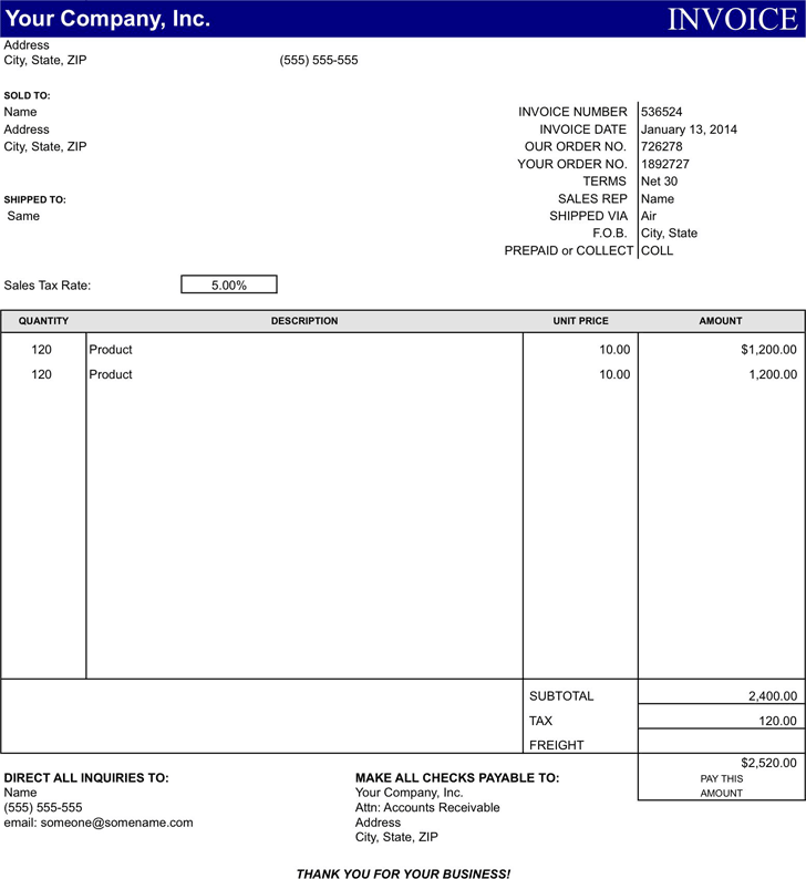 Basic Invoice Template 2