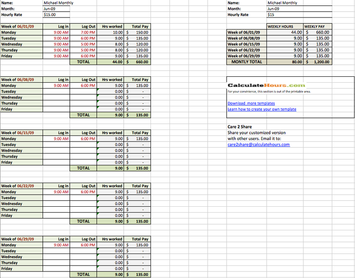 free basic monthly timesheet template xls 51kb 2 page s page 2