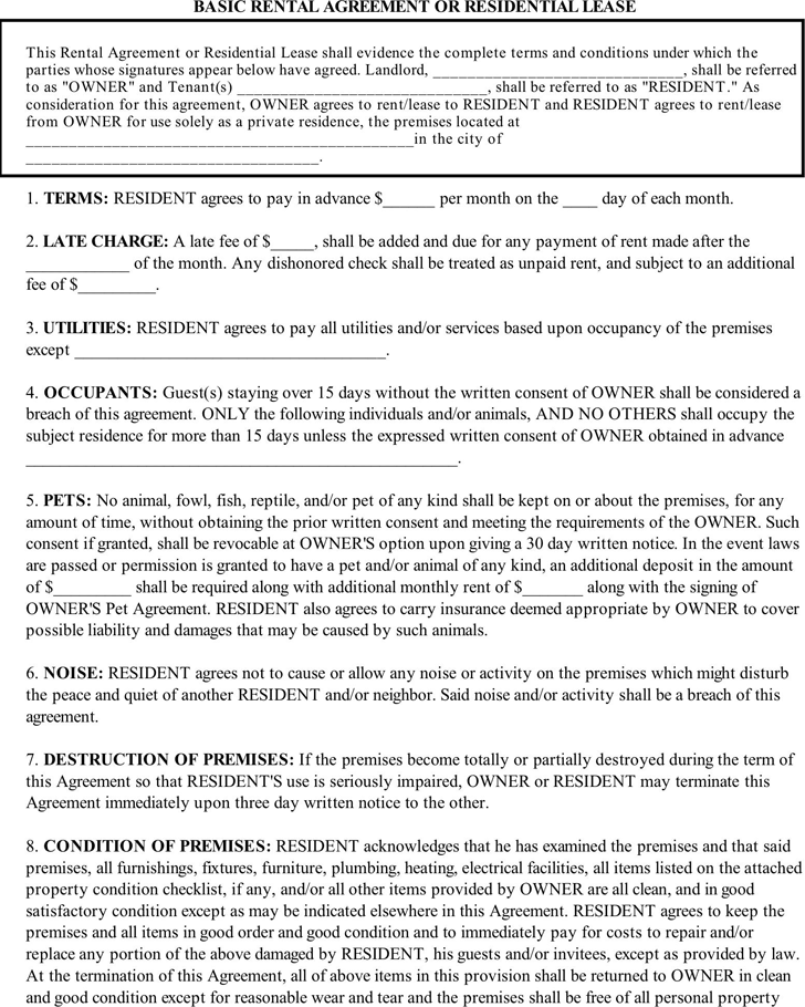 Free Basic Rental Agreement Pdf 62kb 2 Page S