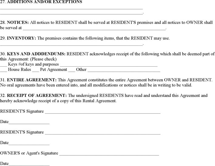 Free Basic Rental Agreement Pdf 27kb 4 Pages Page 4