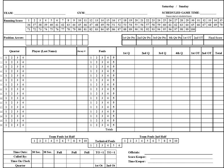 Basketball Score Sheet - Template Free Download   Speedy Template