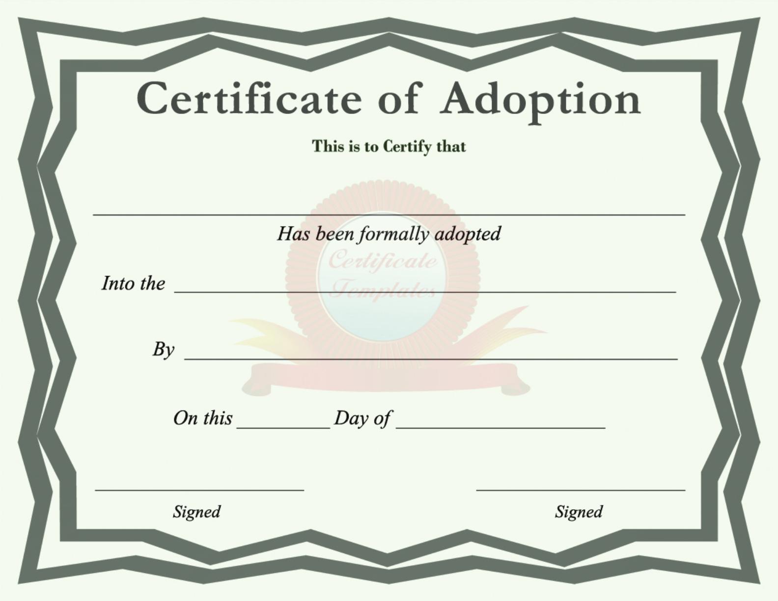 Free Certificate Of Adoption Pdf 5105kb 1 Page S