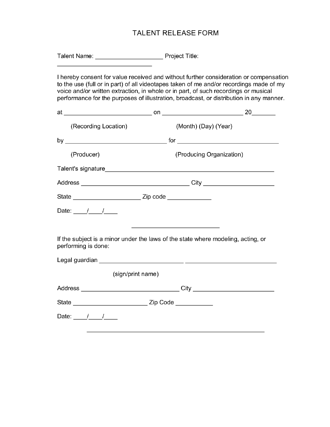 Talent Release Form 3