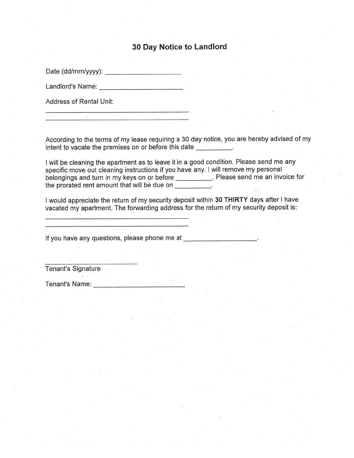 Free 30 Day Notice To Landlord