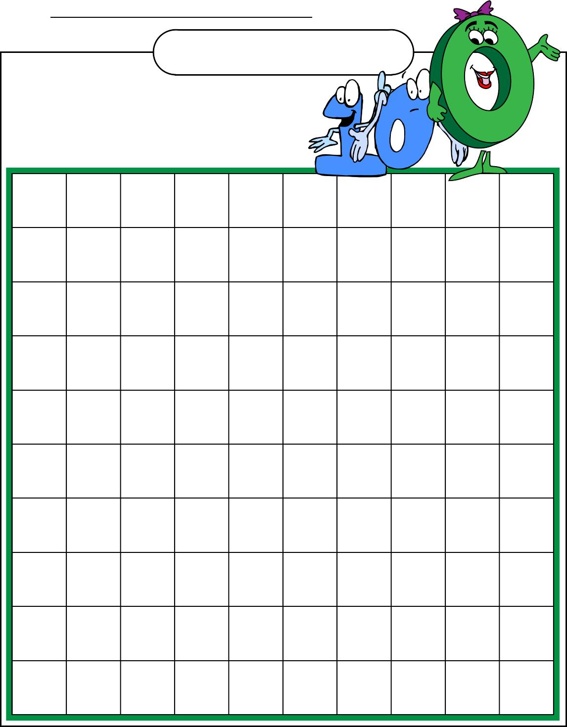 Free Hundreds Chart Blank - PDF | 162KB | 1 Page(s)