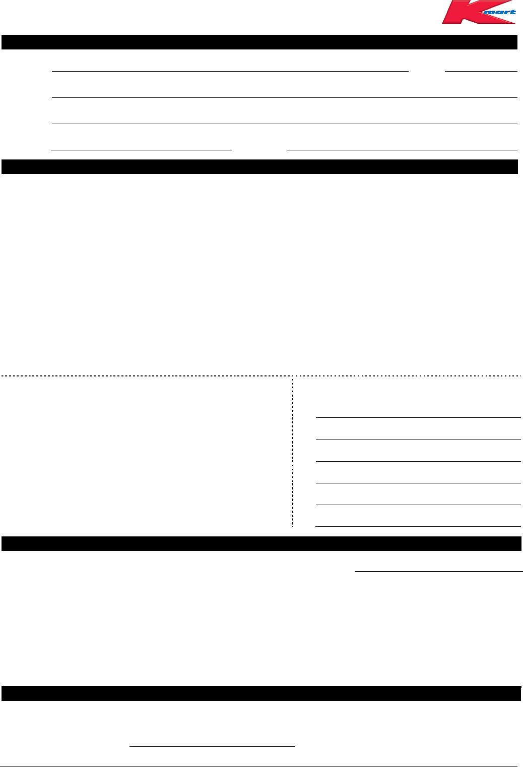 Free Kmart Application Form - PDF | 107KB | 2 Page(s)