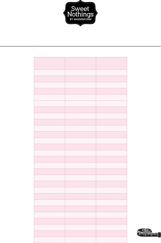 Free Bra Size Chart Pdf 147kb 1 Page S