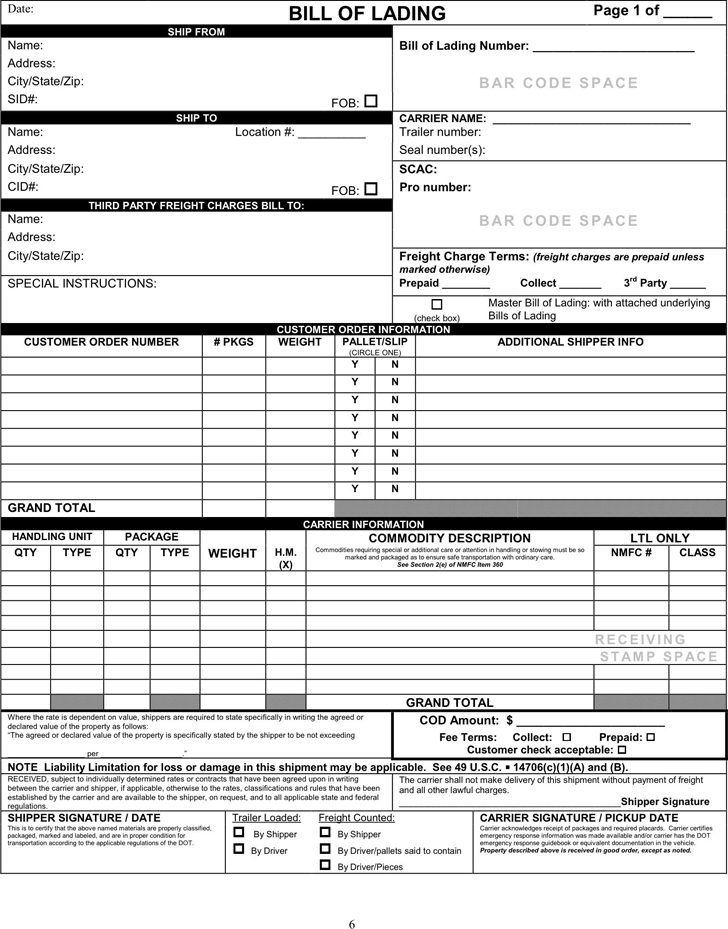 Bill of Lading Form 1