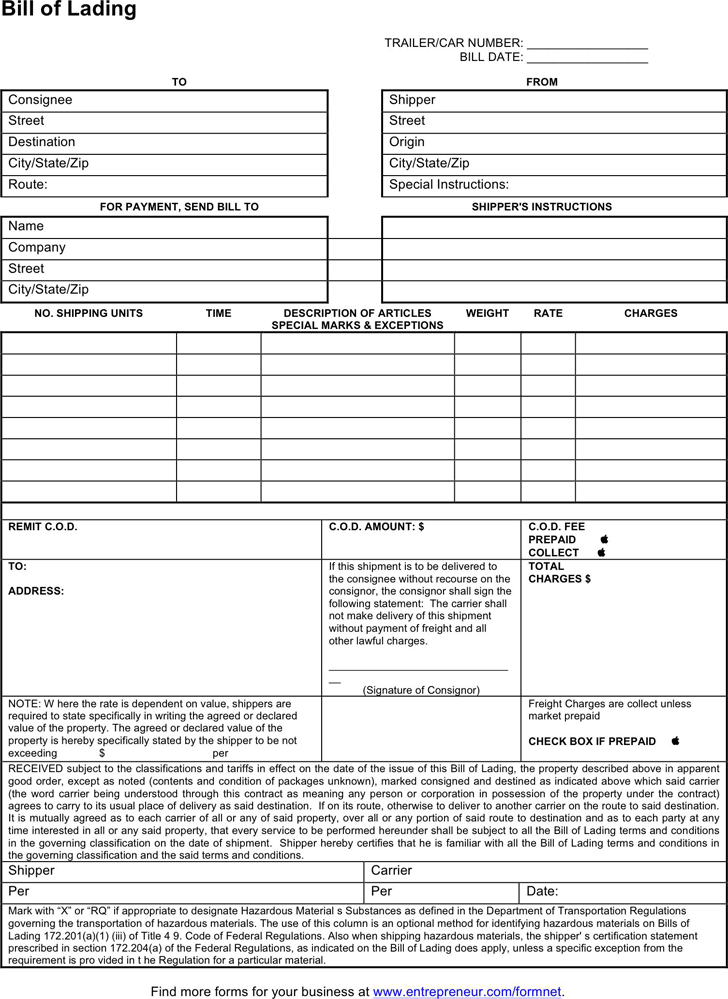 Bill of Lading Form 2