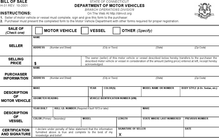 Bill of Sale Department of Motor Vehicles