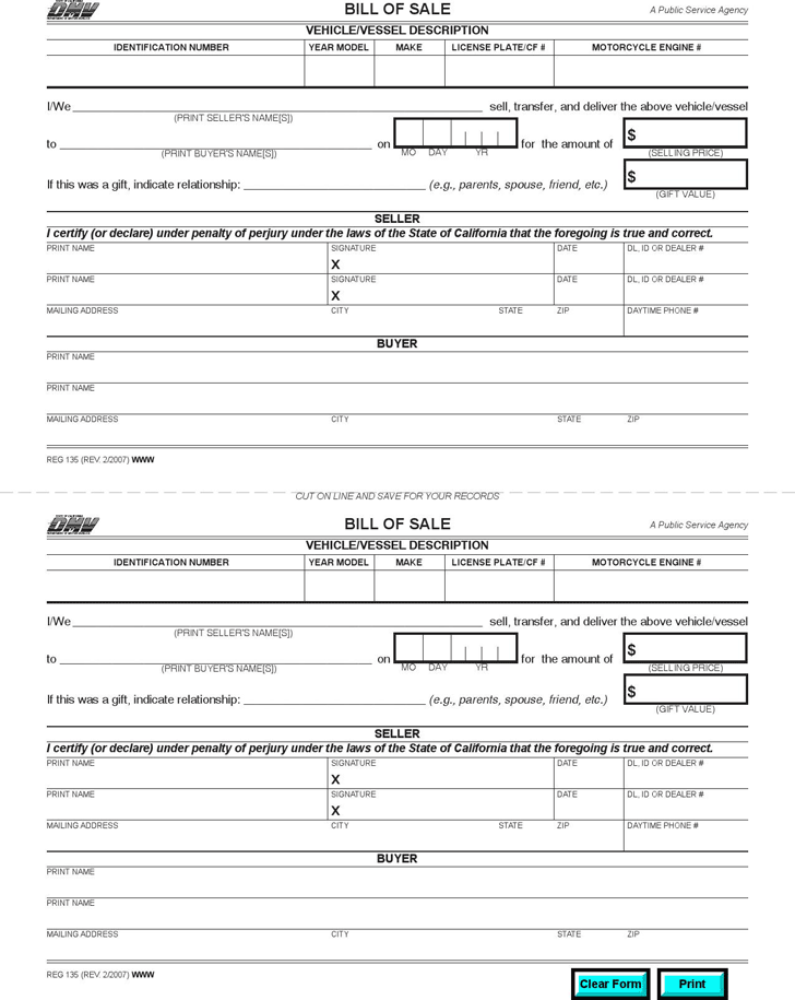 Bill of Sale - State of California